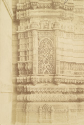 Detail of carved work of panels in the minarets of the Nagina Masjid, Champaner. 823